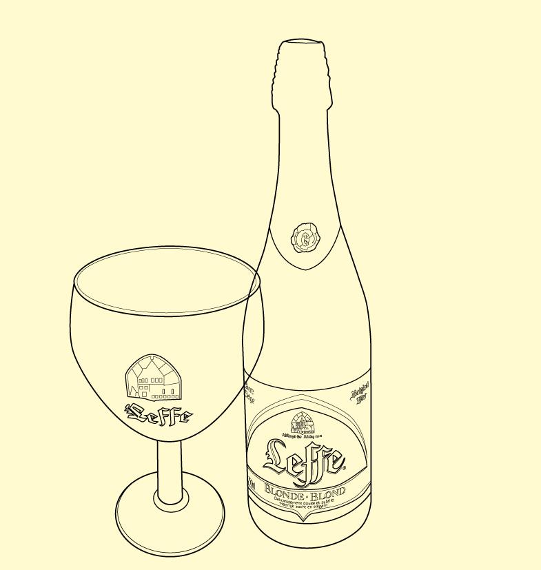 Leffe bottle product illustration