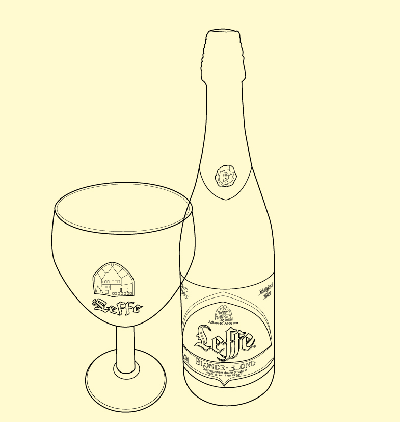 Leffe bottle product illustration